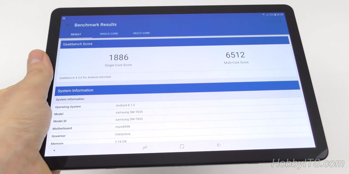 Тест планшета Galaxy Tab S4 на Geekbench