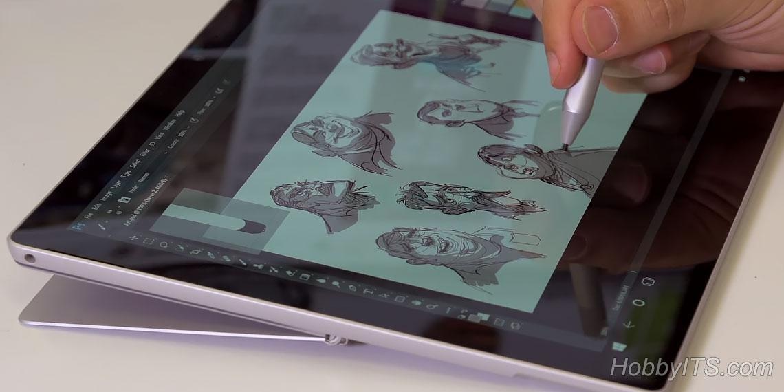 Перо Surface Pen на планшете Surface Pro (2017)
