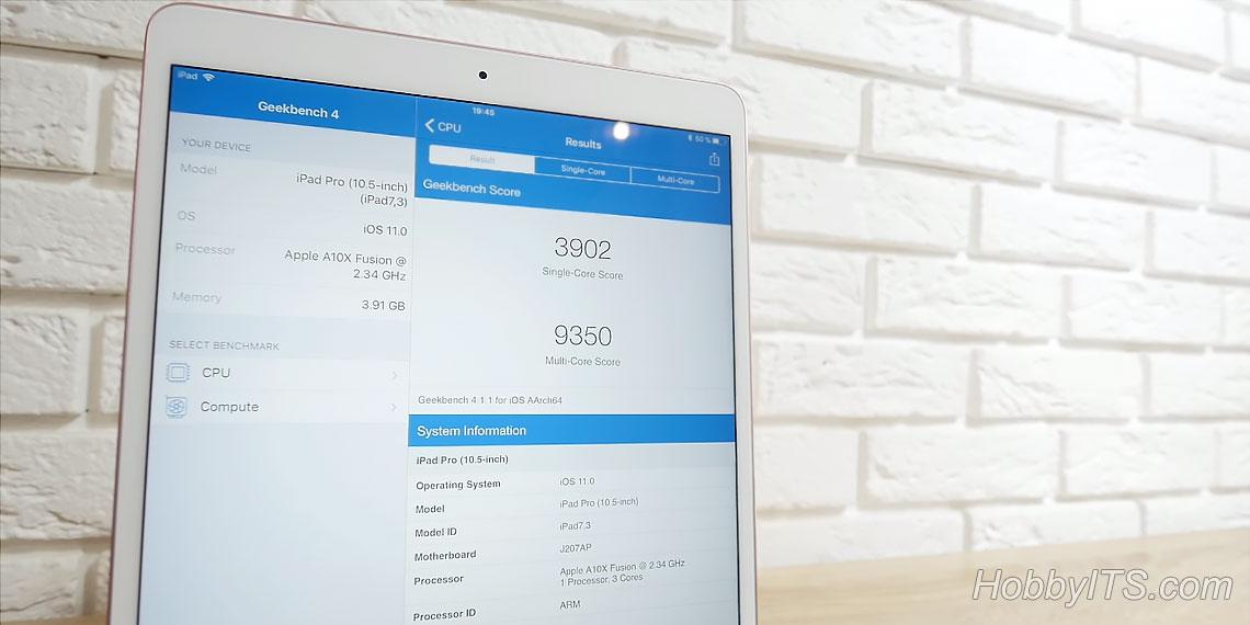 Бенчмарк Geekbench для iPad Pro 10,5