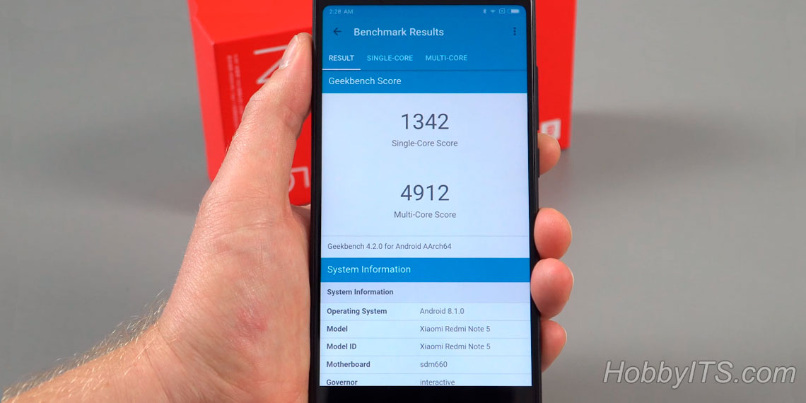 Результаты теста Geekbench Xiaomi Redmi Note 5