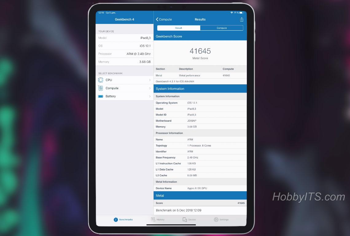 Apple iPad Pro 11-результаты производительности процессороа и ОЗУ в Geekbench 4